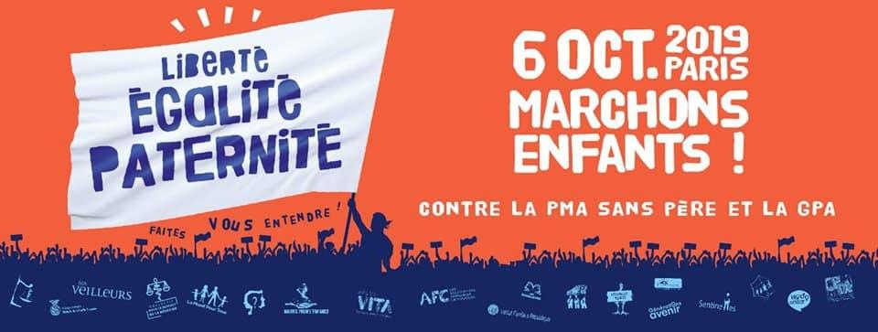 6 oct. 2019 à Paris : manifestation contre la PMA sans père et la GPA